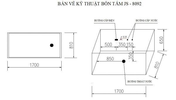 Bản vẽ kỹ thuật bồn tắm massage Govern JS-8092