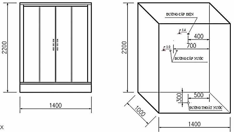 Bản vẽ kỹ thuật lắp đặt Phòng xông hơi Govern JS-0219