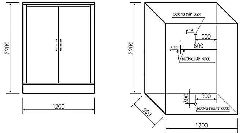 Bản vẽ kỹ thuật lắp đặt Phòng xông hơi Govern JS-0220