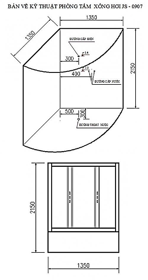 Bản vẽ kỹ thuật Phòng xông hơi Govern JS-0907