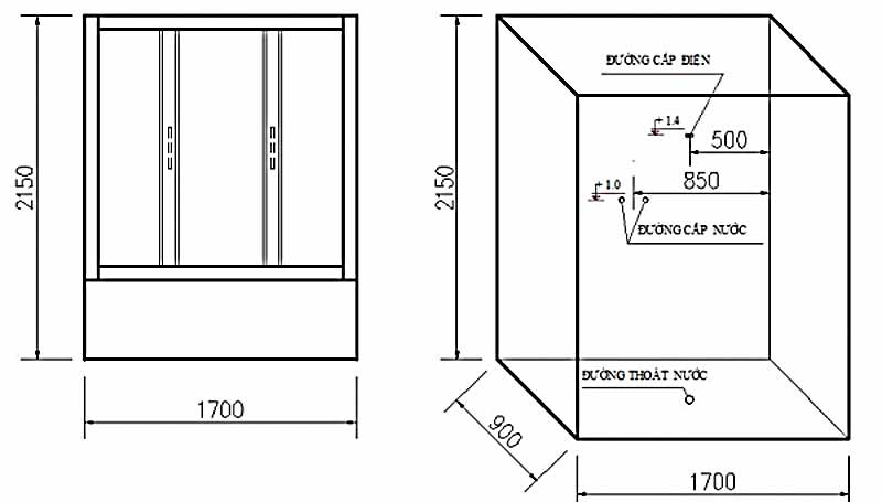 Bản vẽ kỹ thuật lắp đặt Phòng xông hơi Govern JS-0908
