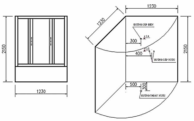 Bản vẽ kỹ thuật lắp đặt Phòng xông hơi Govern JS-8208
