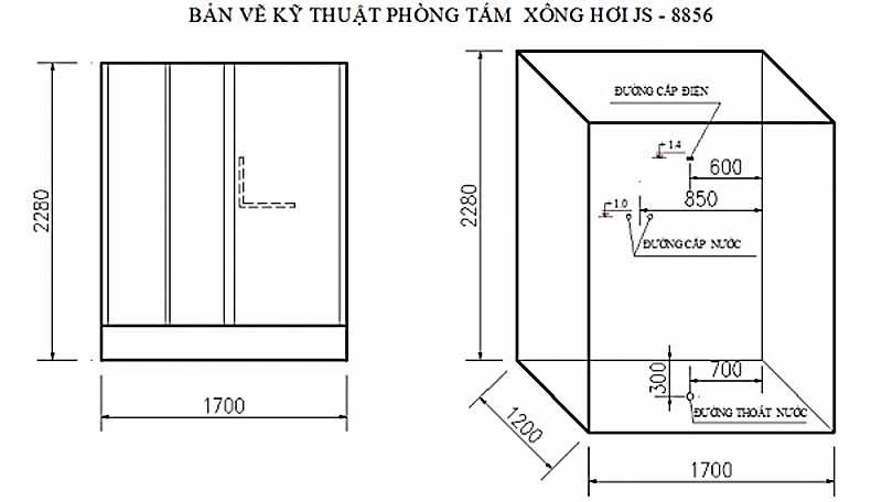 ản vẽ kỹ thuật lắp đặt Phòng xông hơi Govern JS-8856