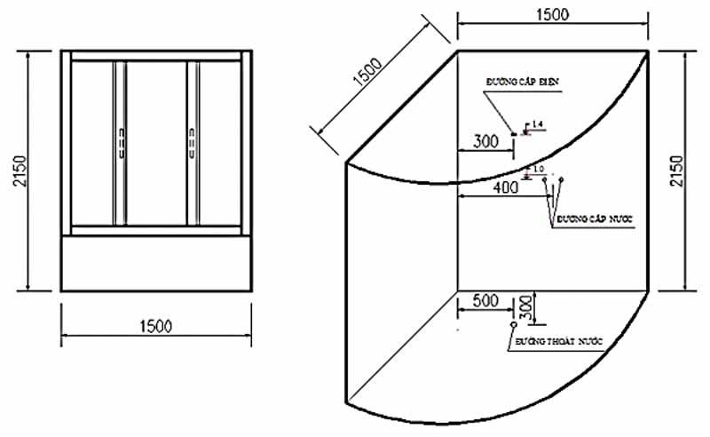Bản vẽ kỹ thuật lắp đặt Phòng xông hơi Govern JS-9051