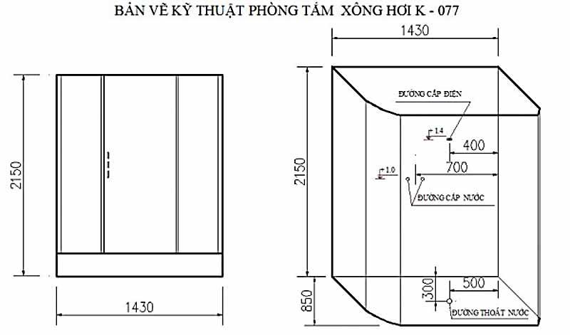Bản vẽ kỹ thuật lắp đặt Phòng xông hơi Govern K-077