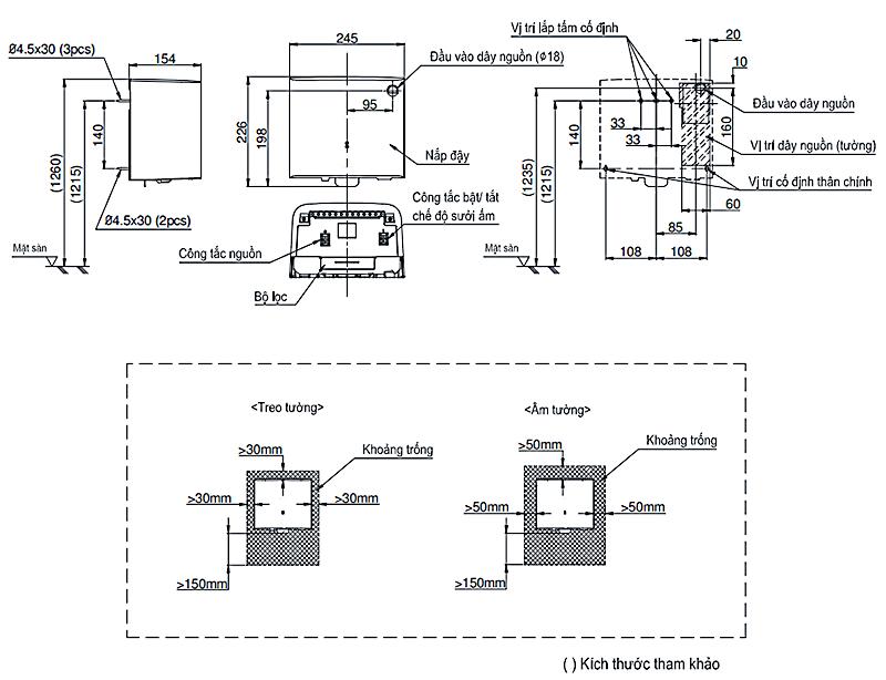 Bản vẽ kỹ thuật máy sấy tay cảm ứng ToTo TYC322M