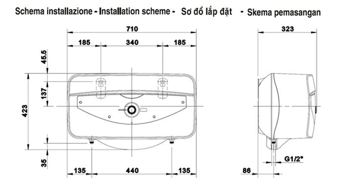 Bình nóng lạnh Ariston 30 lít SLIM 30QH - bản vẽ kỹ thuật