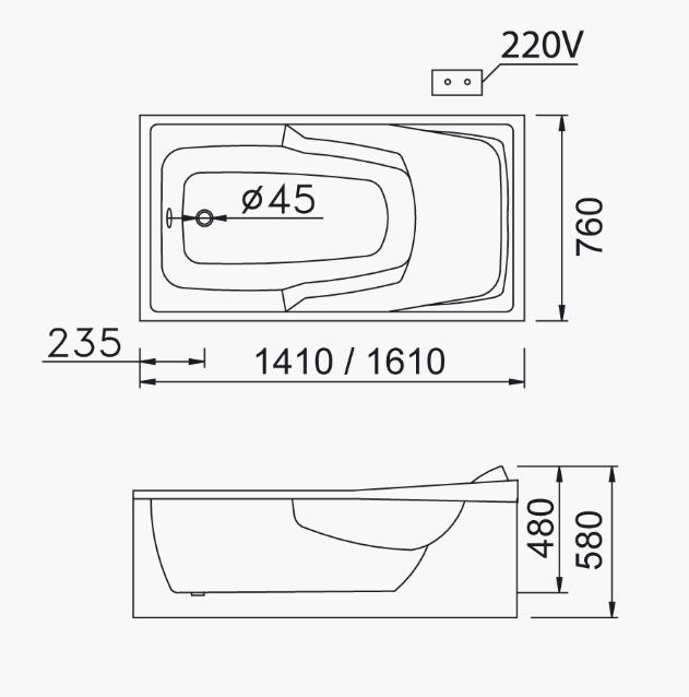 Bồn tắm massage Caesar MT0440L(R)