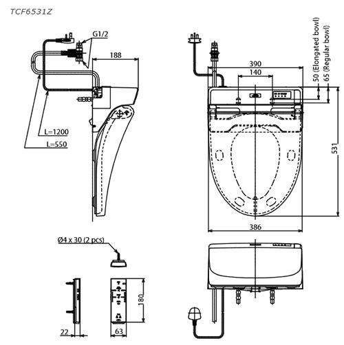Nắp rửa bồn cầu điện tử TOTO TCF6531Z