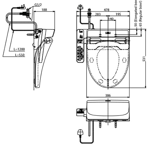 Nắp rửa bồn cầu điện tử TOTO TCF6631A (W7)