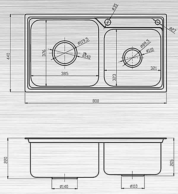 Chậu rửa bát liền khối Sơn Hà S80 Premium (inox 304)