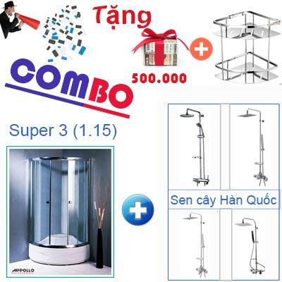 Khuyến mãi combo vách tắm kính Appollo Super 3 (1.15)