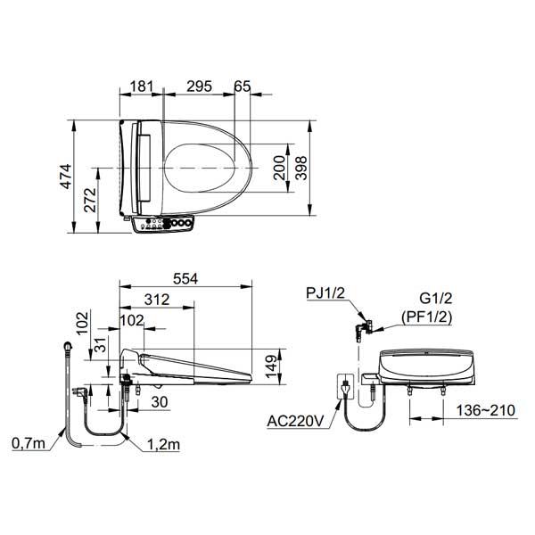 Nắp rửa bồn cầu thông minh Inax CW-KB22AVN