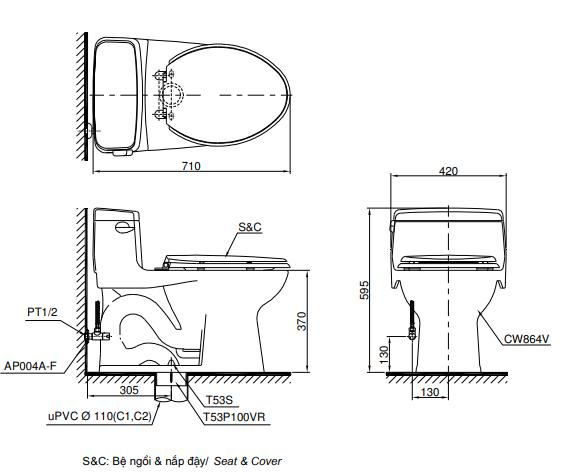 Bồn cầu cảm ứng TOTO MS864W7