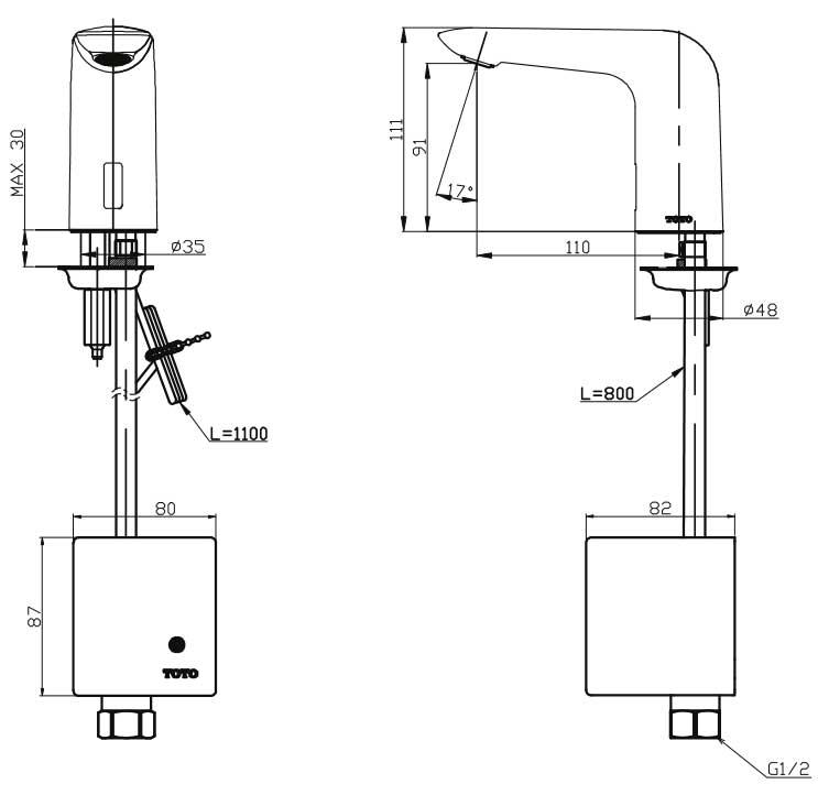 Vòi cảm ứng TOTO TTLA101/TTLE101B2L/TX709AV6 - ban ve ky thuat