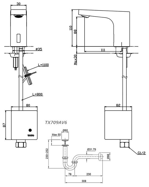 Vòi rửa cảm ứng TOTO TTLA102/TTLE101E2L/TX709AV6 - ky thuat