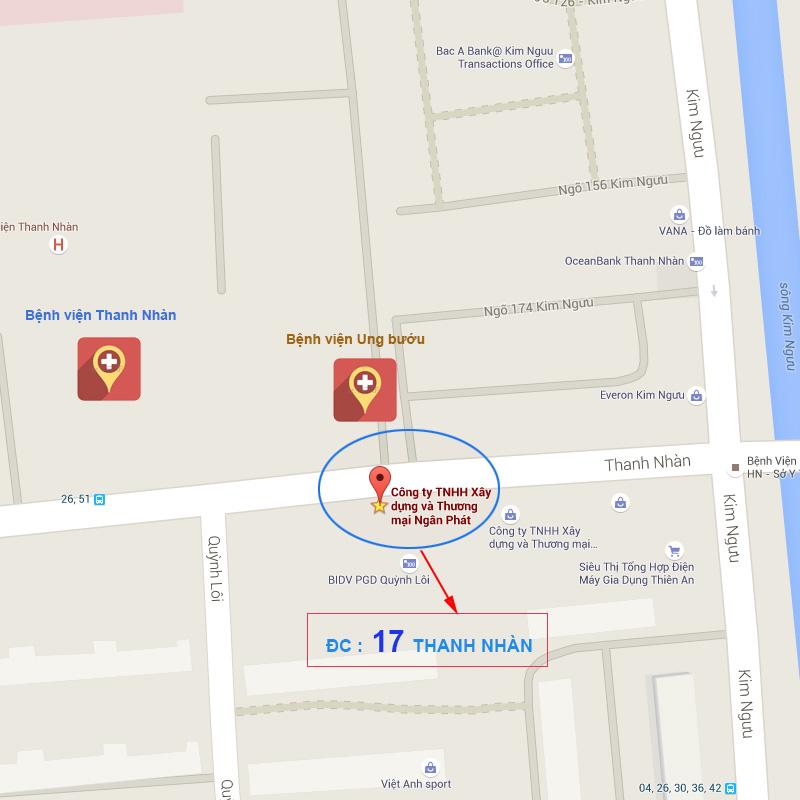 showroom thiết bị vệ sinh 17 Thanh Nhàn - map