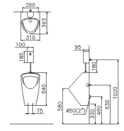 bản vẽ Bộ tiểu nam cảm ứng Caesar U0262 (bộ xả A624)