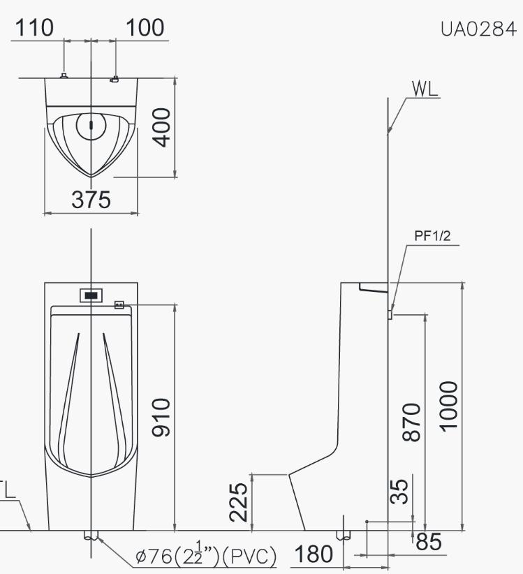 Bản vẽ tiểu nam đặt sàn Caesar U0284