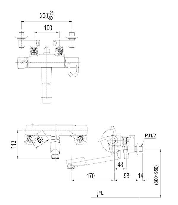 Vòi sen tắm nhiệt độ Inax BFV-8145T-5C