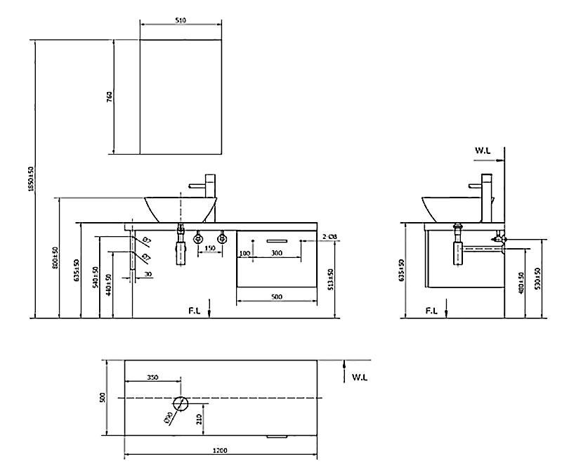 Bản vẽ kỹ thuật cabinet Inax CB1206-4IF-B