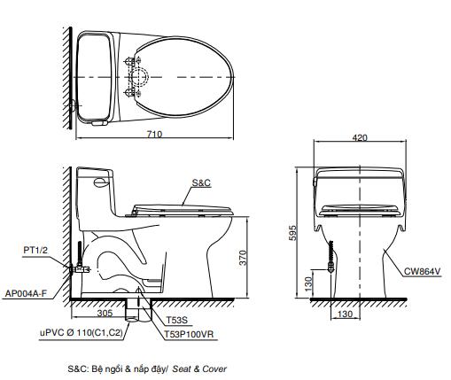 Bồn cầu cảm ứng TOTO MS864W6