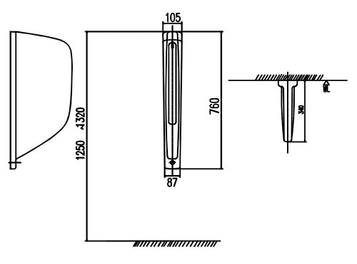 Vách ngăn tiểu nam Inax P-1 - kỹ thuật