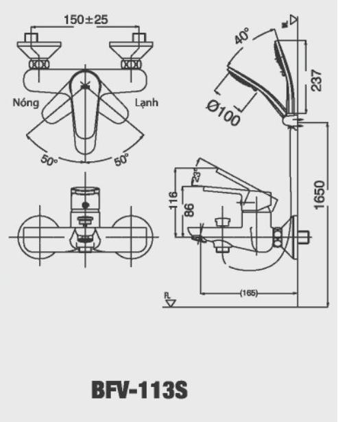 Vòi hoa sen tắm nóng lạnh Inax BFV-113S