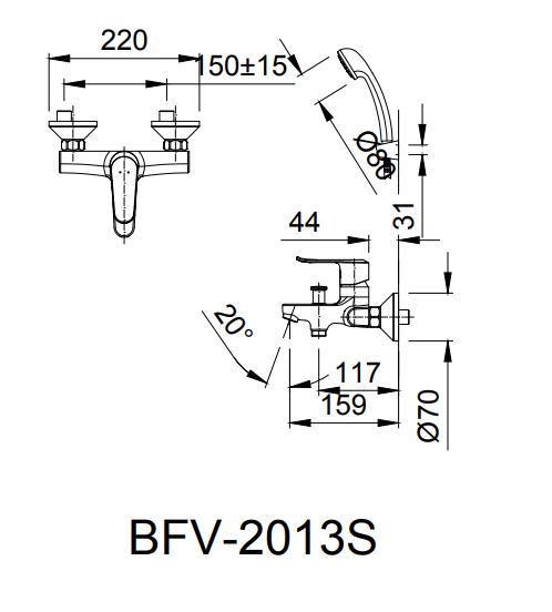 Vòi hoa sen tắm nóng lạnh Inax BFV-2013S