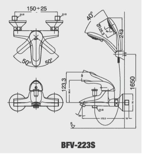 Vòi hoa sen tắm nóng lạnh Inax BFV-223S