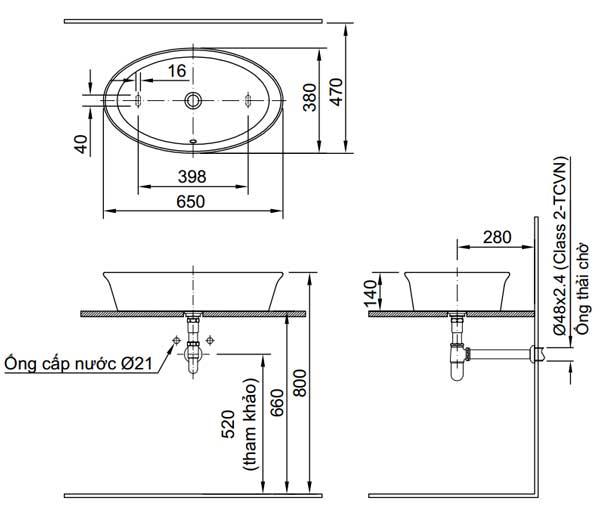 Bản vẽ kỹ thuật lắp đặt Chậu rửa đặt bàn Inax L-300V, AL-300V