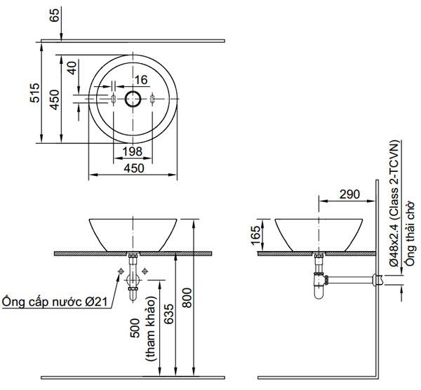 Bản vẽ kỹ thuật lắp đặt Chậu rửa đặt bàn Inax L-445V