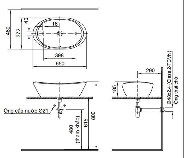 Bản vẽ kỹ thuật lắp đặt Chậu rửa đặt bàn Inax L-465V
