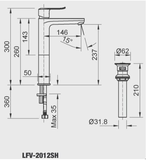 Vòi rửa nóng lạnh Inax LFV-2012SH (cao 30cm)