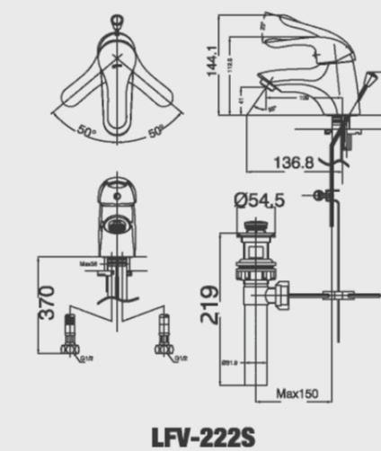 Vòi chậu rửa lavabo nóng lạnh Inax LFV-222S