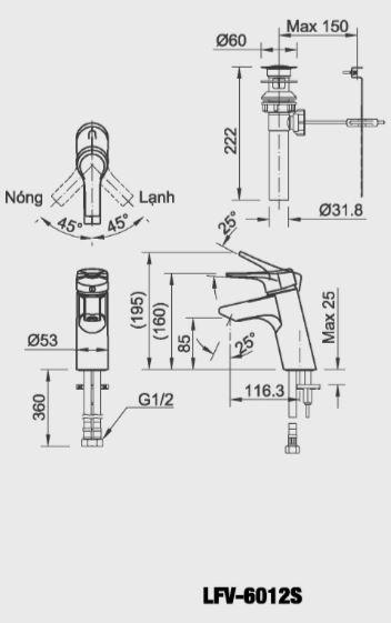 Vòi chậu rửa lavabo nóng lạnh Inax LFV-6012S