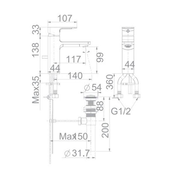 Vòi lavabo nóng lạnh Americanstandard WF-1301