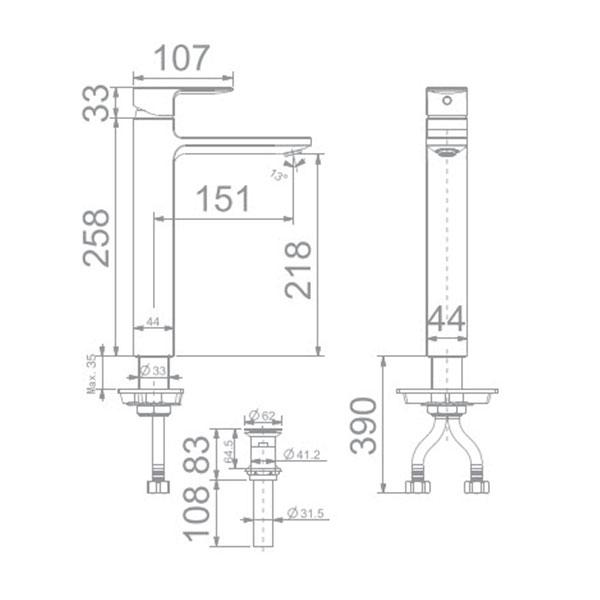 Vòi lavabo nóng lạnh Americanstandard WF-1302