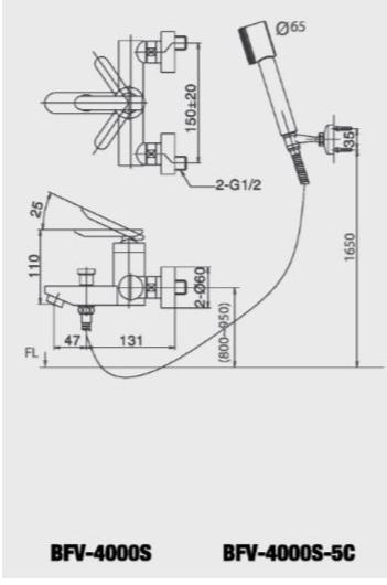 Vòi sen tắm nóng lạnh Inax BFV-4000S-5C