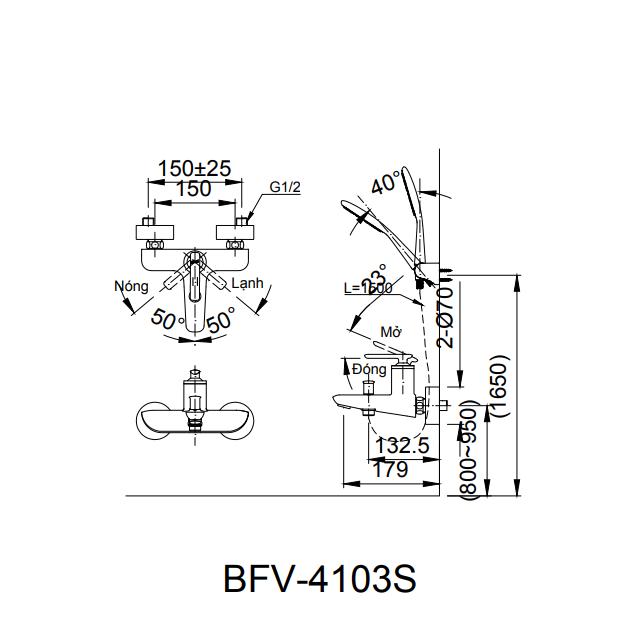 Vòi sen tắm nóng lạnh Inax BFV-4103S-5C