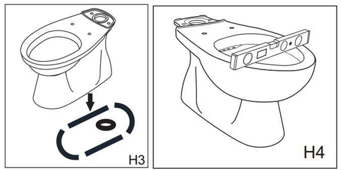 Phương pháp lắp đặt bồn cầu inax 2 khối C-306VT, C-306VTN (H3+H4)