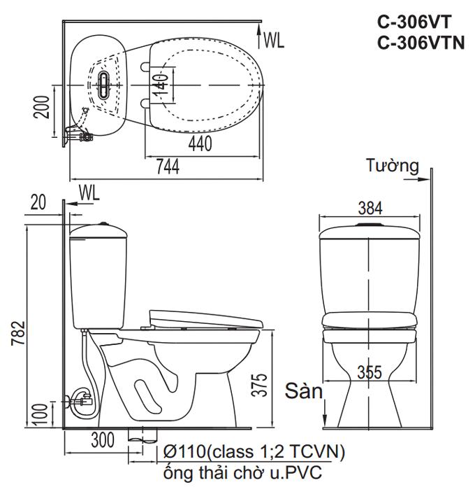Bản vẽ kỹ thuật bồn cầu Inax 2 khối C-306VT, C-306VTN