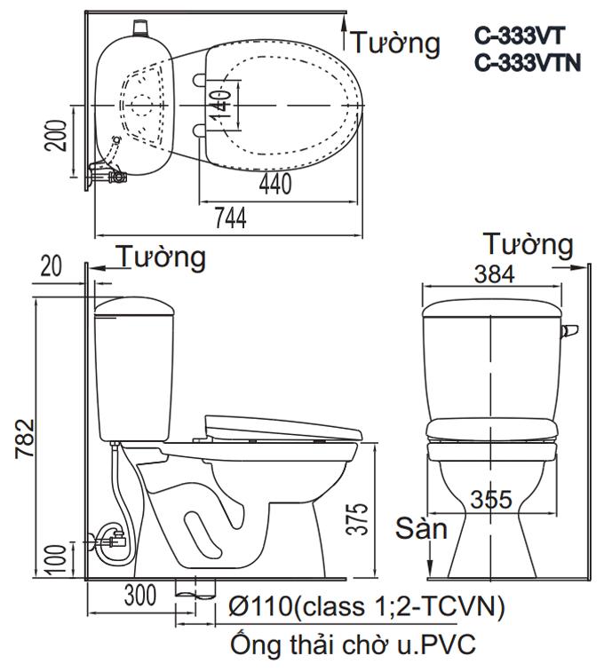Bản vẽ kỹ thuật bồn cầu Inax 2 khối C-333VT, C-333VTN
