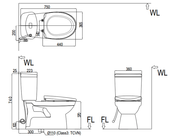 Bản vẽ kỹ thuật bồn cầu Inax 2 khối C-504VT, C-504VTN