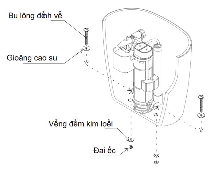Hướng dẫn lắp phụ kiện két nước vào trong két nước bồn cầu Inax C-306VT, C-306VTN