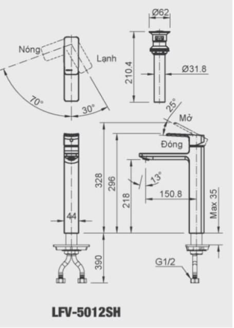 Vòi chậu rửa lavabo nóng lạnh Inax LFV-5012SH