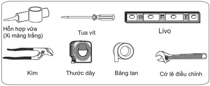 Vật tư và dụng cụ cần thiết để lắp đặt bồn cầu