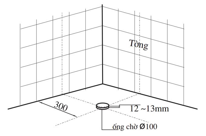 Xác định vị trí ống chờ thải bồn cầu Inax-C-306VT