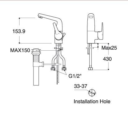 Vòi lavabo nóng lạnh Americanstandard WF-0501