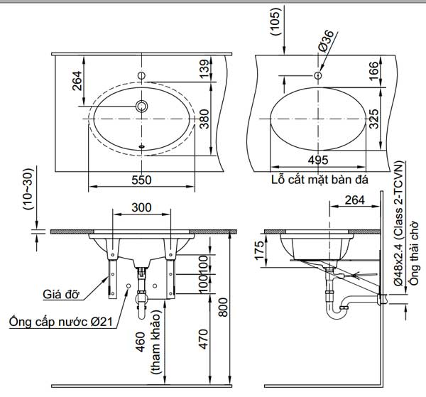 Bản vẽ kỹ thuật lắp đặt Chậu rửa âm bàn Inax L-2216V